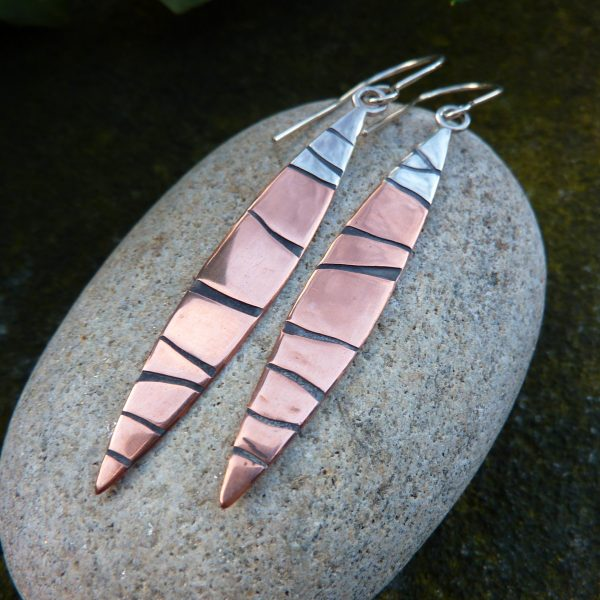 Copper and Silver Long Leaf Earrings