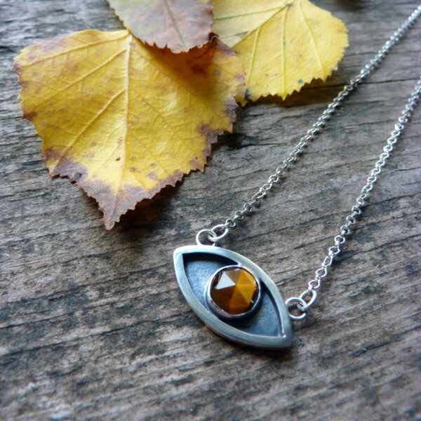 Silver and Tigers Eye Protective Pendant