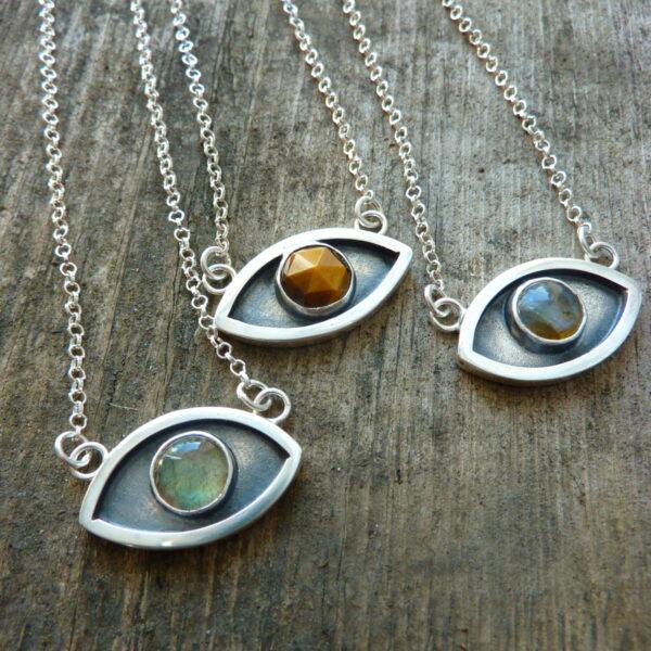 Handmade Silver Proctective Eye Pendants.